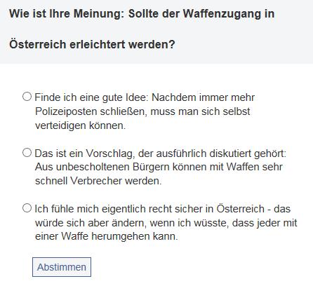 ORF-Umfrage, Screenshot vom 01.02.2014